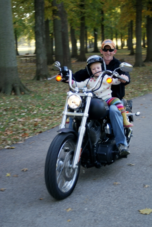Jess and daddy on Harley