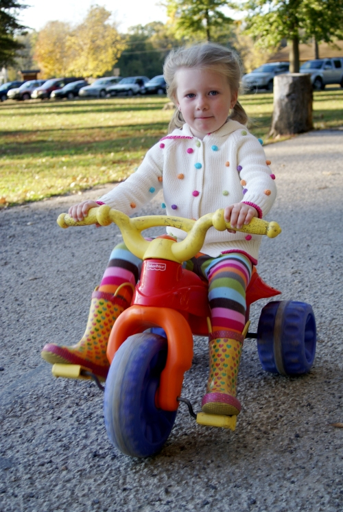 Jess on her little bike